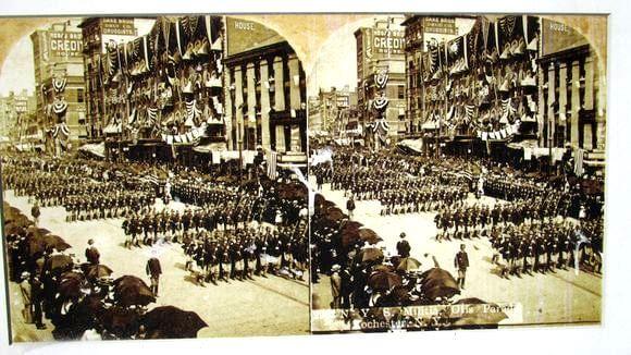 NYS Militia passing through the Otis Arch, June 15th, 1900