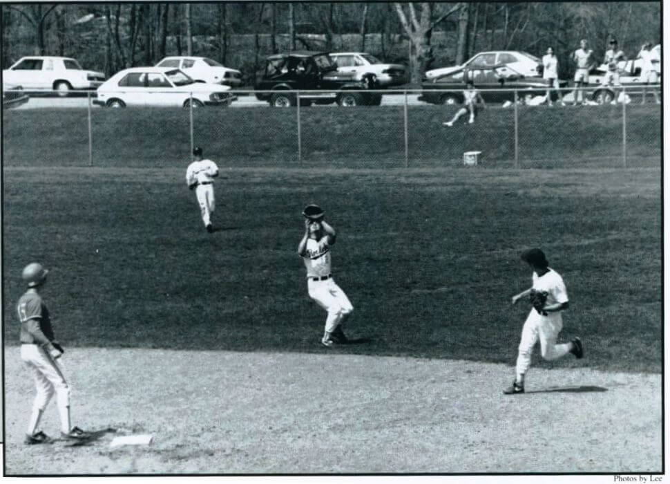 Tom Havens in center field. For UR Yearbook, Intrepes, 1992