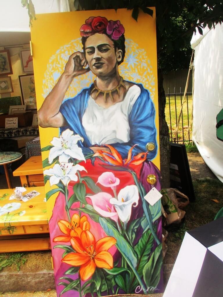 Chloe Smith's portrait of Frida Kahlo de Rivera. Corn Hill Arts Festival 7/14/18