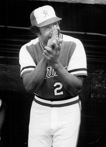 Frank Robinson smiles from the Rochester Red Wings dugout during the 1978 season (D & C file photo)
