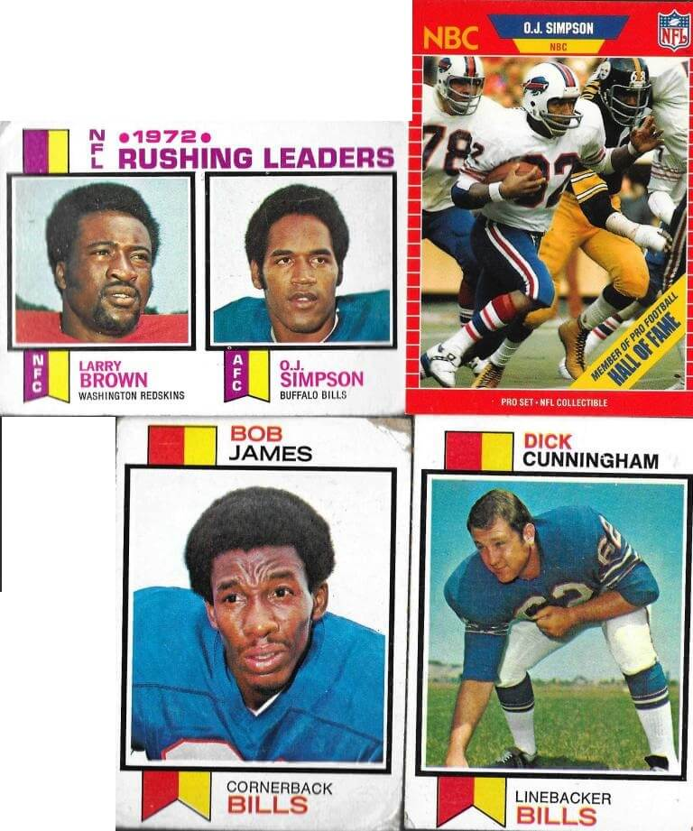(top, l-r) Topps, 1972, 1989 National Football Football League (bottom, l-r) Bob James and Dick Cunningham, Topps 1972