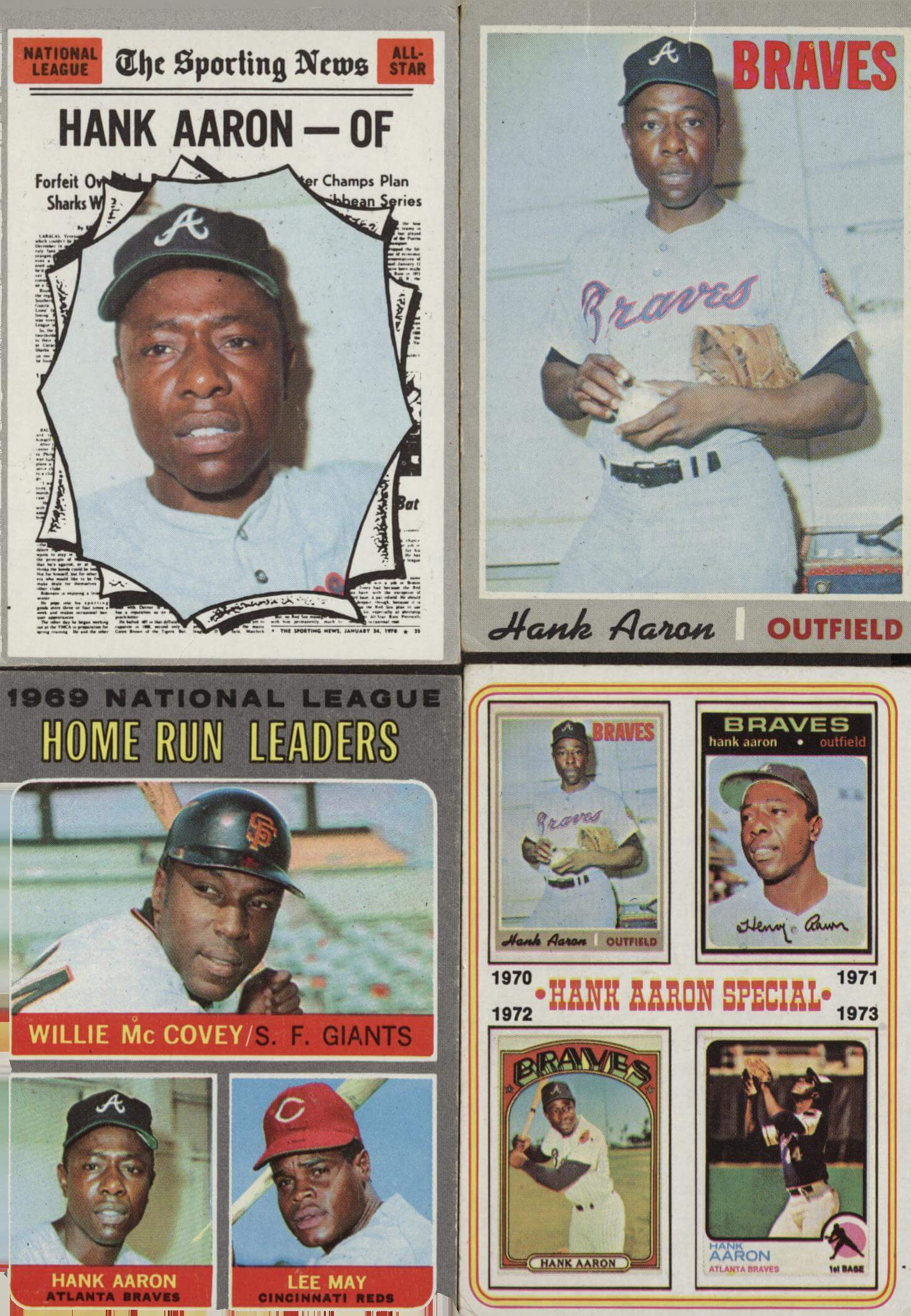 (top and bottom left) Hank Aaron 1970 Tpps (bottom right)