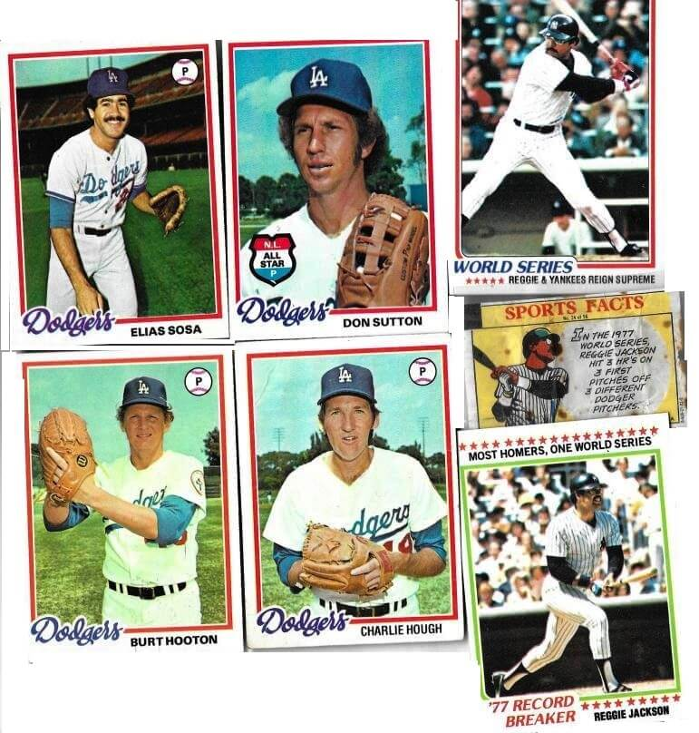 1977 Topps baseball cards. Reggie Jackson and the four Dodger pitchers he homered off in games 5 and 6. Four swings, four home runs. [David Kramer's collection]