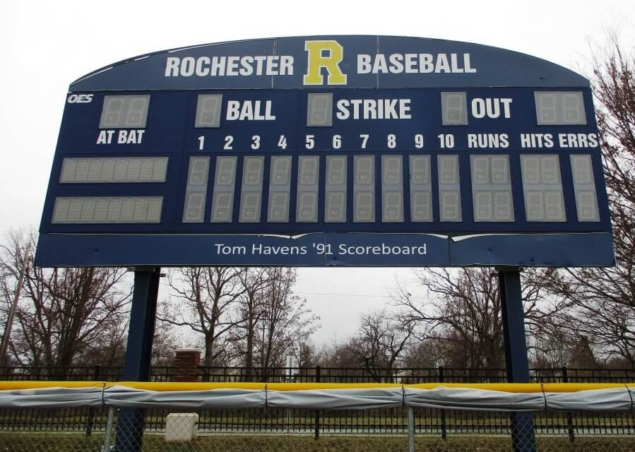 The Tom Havens '91 Scoreboard at Towers Field, Brian F. Prince Athletic Complex, University of Rochester, 12/29/18. From The University of Rochester's John Ghyzel follows in the footsteps of Tom Havens '91 (Madison Muskies, 1992)