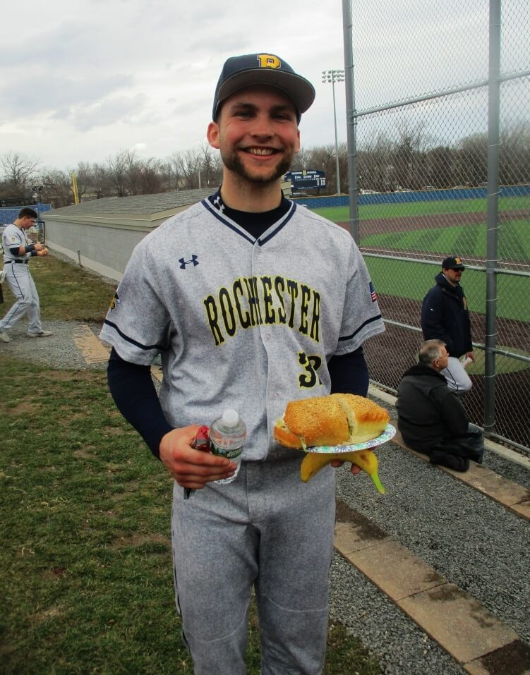 Garrett Renslow built a hardy appetite during his complete game outing. [Photo: David Kramer, 3/30/19]